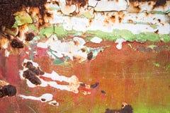 Pintura velha na textura oxidada do metal fotos de stock