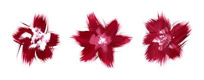 Pintura vermelha da escova do sumário das flores Imagens de Stock Royalty Free
