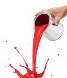 Pintura vermelha de derramamento Fotografia de Stock