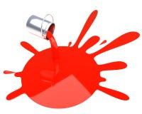 Pintura vermelha derramada isolada Fotografia de Stock Royalty Free