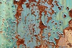 Pintura vieja de la peladura en el fondo oxidado de Grunge del metal Imagen de archivo