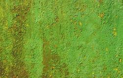 Pintura vieja verde y amarilla de la pared Foto de archivo