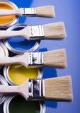 Pintura y cepillo Foto de archivo