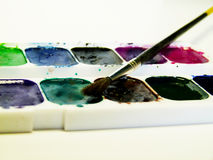 Pintura y cepillo Foto de archivo libre de regalías