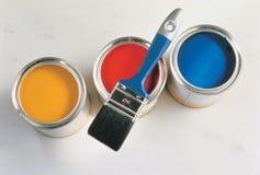 Pintura y cepillo Imagen de archivo libre de regalías