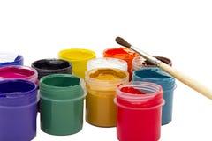 Pintura y cepillo coloridos de la gouache Imagen de archivo libre de regalías