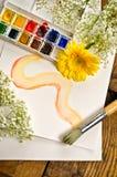 Pintura y cepillo de la acuarela Imagen de archivo