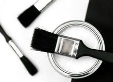 Pintura y cepillos Fotos de archivo