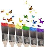 Pintura y mariposas Imágenes de archivo libres de regalías