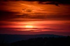 Pintura y puesta del sol del cielo Imagen de archivo libre de regalías
