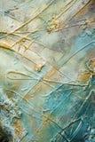 Pintura y textura de aceite azul y de oro Imagen de archivo libre de regalías