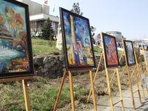 Pinturas a óleo Imagens de cidades asiáticas antigas exhibition Imagem de Stock