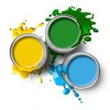 Pinturas amarelas azuis verdes da cor Fotografia de Stock Royalty Free