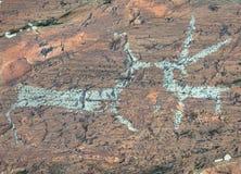 Pinturas antiguas de la roca Fotos de archivo libres de regalías
