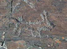 Pinturas antiguas de la roca Foto de archivo