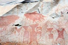 Pinturas antiguas de la roca en el parque nacional de Pha Taem Fotos de archivo