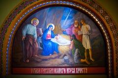 Pinturas bíblicas no templo Bukovina em Ucrânia Fotografia de Stock