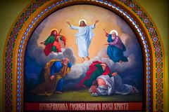 Pinturas bíblicas no templo Bukovina em Ucrânia Imagens de Stock Royalty Free