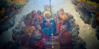 Pinturas bíblicas no templo Bukovina em Ucrânia Imagens de Stock