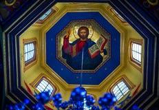 Pinturas bíblicas no templo Bukovina em Ucrânia Fotos de Stock Royalty Free