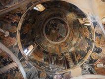 Pinturas bizantinas celiing e de parede - monastério de Kesariani Imagens de Stock