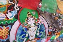 Pinturas budistas na reserva natural yading, Sichuan fotografia de stock
