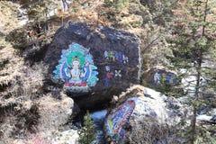 Pinturas budistas na reserva natural yading, Sichuan fotos de stock royalty free