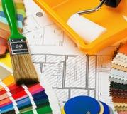 Pinturas, cepillos y accesorios Fotografía de archivo libre de regalías