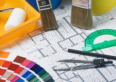 Pinturas, cepillos y accesorios para la reparación Imagen de archivo