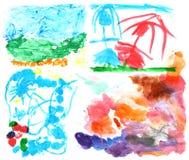 Pinturas 2 da aguarela das crianças foto de stock