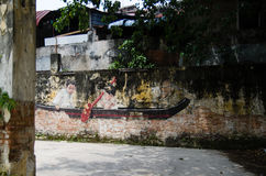 Pinturas da arte e dos grafittis da rua nas paredes da arquitetura Fotos de Stock