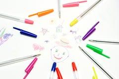Pinturas da criança. imagens de stock