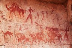 Pinturas da rocha de Tassili N'Ajjer, Argélia Imagens de Stock Royalty Free