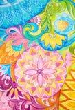 Pinturas de óleo abstratas do desenho em uma lona com ornamento floral ilustração do vetor