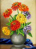 Pinturas de óleo em uma lona: um ramalhete das flores em um vaso da argila Imagem de Stock