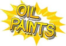 Pinturas de óleo - palavras do estilo da banda desenhada ilustração do vetor