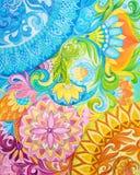 Pinturas de aceite abstractas del dibujo en una lona con el ornamento floral Fotografía de archivo libre de regalías