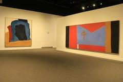 Pinturas de Inetersting que penduram em paredes austeros da sala, museu do estado, Albany, New York, 2017 Fotografia de Stock