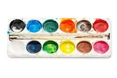 Pinturas de la acuarela de la paleta, aisladas en el fondo blanco Fotos de archivo libres de regalías
