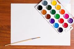 Pinturas de la acuarela en un fondo blanco Imágenes de archivo libres de regalías