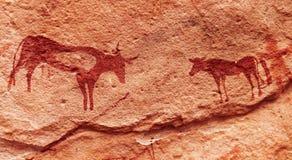 Pinturas de la roca en el desierto de Sáhara, Argelia Imágenes de archivo libres de regalías