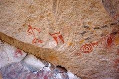 Pinturas de la roca en Patagonia Imagenes de archivo