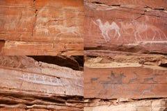 Pinturas de la roca de la gente antigua Imágenes de archivo libres de regalías