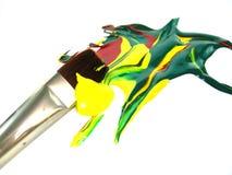 Pinturas de mezcla del arte del cepillo de pintura Foto de archivo libre de regalías