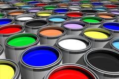 Pinturas de muitas cores ilustração stock