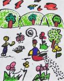 Pinturas de niños talentosos. Foto de archivo