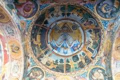 Pinturas de pared antiguas en el monasterio de Troyan en Bulgaria Foto de archivo