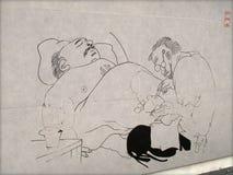 Pinturas de pared del carril de Xuanzi ilustración del vector