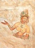 Pinturas de pared del siglo V de la cueva de la roca de Sigiriya, Sri Lanka foto de archivo