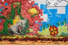 Pinturas de pared del tema de la naturaleza y flor real foto de archivo